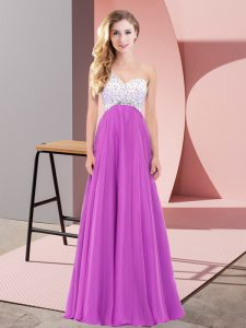 One Shoulder Sleeveless Lace Up Evening Dress Fuchsia Chiffon