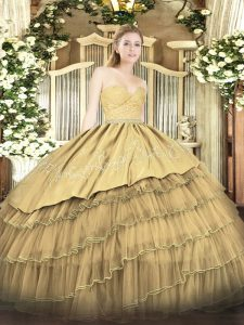 On Sale Floor Length Zipper Quince Ball Gowns Gold for Military Ball and Sweet 16 and Quinceanera with Beading and Lace and Embroidery and Ruffled Layers
