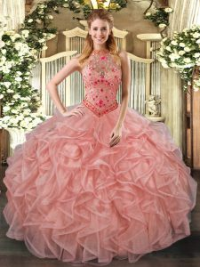 Sleeveless Floor Length Beading and Embroidery and Ruffles Lace Up Sweet 16 Quinceanera Dress with Peach