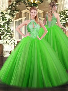 Ball Gowns Sequins Teens Party Dress Lace Up Tulle Sleeveless Floor Length