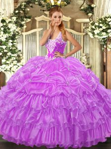 Fantastic Sleeveless Lace Up Floor Length Beading and Ruffled Layers and Pick Ups Sweet 16 Dress