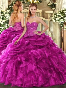 Cute Ball Gowns Sweet 16 Dresses Fuchsia Sweetheart Organza Sleeveless Floor Length Lace Up