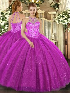 Romantic Beading and Embroidery and Sequins Quinceanera Dress Fuchsia Lace Up Sleeveless Floor Length