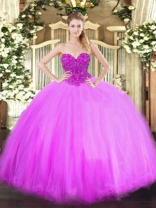 Lilac Lace Up Quinceanera Dress Beading Sleeveless Floor Length
