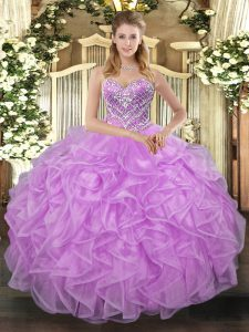 Floor Length Ball Gowns Sleeveless Lilac Quinceanera Dresses Lace Up