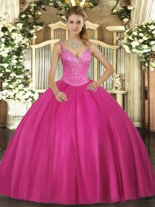 Elegant Fuchsia Quinceanera Dress Military Ball and Sweet 16 and Quinceanera with Beading V-neck Sleeveless Lace Up