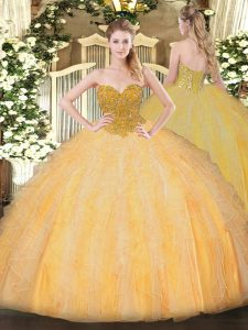Excellent Sweetheart Sleeveless Lace Up 15th Birthday Dress Orange Organza