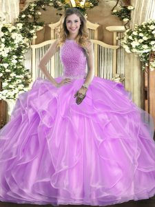 Deluxe Sleeveless Lace Up Floor Length Beading and Ruffles Sweet 16 Quinceanera Dress