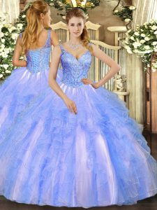 Colorful Beading and Ruffles 15 Quinceanera Dress Blue Lace Up Sleeveless Floor Length