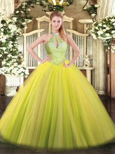 Best Yellow Green Sleeveless Floor Length Sequins Lace Up Quinceanera Gown