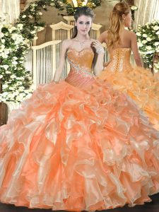 Stylish Orange Red Ball Gowns Organza Sweetheart Sleeveless Beading and Ruffles Floor Length Lace Up Quinceanera Dresses