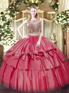 Coral Red Sleeveless Organza and Taffeta Lace Up Quince Ball Gowns for Military Ball and Sweet 16 and Quinceanera