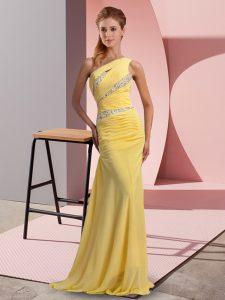 Super Yellow Column/Sheath One Shoulder Sleeveless Chiffon Floor Length Sweep Train Lace Up Beading Dress for Prom