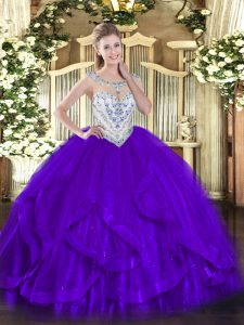 Cheap Purple Sleeveless Tulle Zipper Sweet 16 Dress for Military Ball and Sweet 16 and Quinceanera