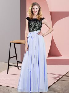 Lavender Scoop Lace Up Lace and Belt Prom Evening Gown Sleeveless