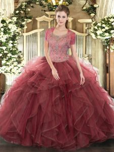 Dynamic Floor Length Burgundy Quinceanera Gowns Scoop Sleeveless Clasp Handle