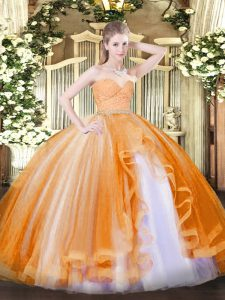 Colorful Tulle Sleeveless Floor Length Quince Ball Gowns and Beading and Lace and Ruffles