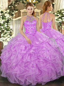 Lilac Ball Gowns Halter Top Sleeveless Organza Floor Length Lace Up Beading and Ruffles Quince Ball Gowns