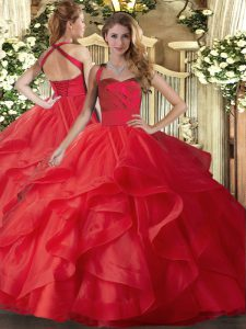 Red Sleeveless Tulle Lace Up Quince Ball Gowns for Military Ball and Sweet 16 and Quinceanera