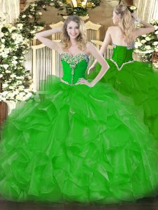 Customized Floor Length Lace Up 15 Quinceanera Dress Green for Military Ball and Sweet 16 and Quinceanera with Beading and Ruffles