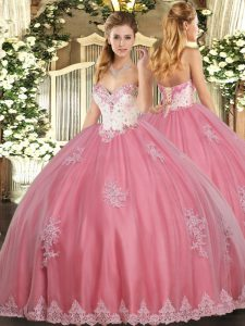 Floor Length Ball Gowns Sleeveless Watermelon Red 15 Quinceanera Dress Lace Up