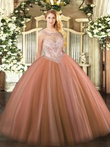 Spectacular Scoop Sleeveless Zipper Vestidos de Quinceanera Rust Red Tulle