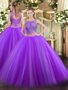 Extravagant Floor Length Two Pieces Sleeveless Eggplant Purple Sweet 16 Quinceanera Dress Lace Up