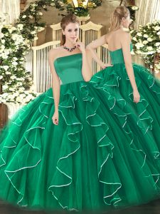 Attractive Tulle Sleeveless Floor Length Quinceanera Gowns and Ruffles