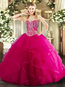 Clearance Sweetheart Sleeveless Quinceanera Gown Floor Length Beading and Ruffles Hot Pink Tulle