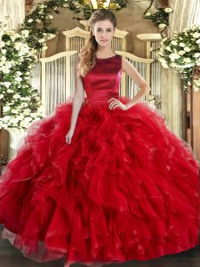 Sleeveless Tulle Floor Length Lace Up Quince Ball Gowns in Red with Ruffles