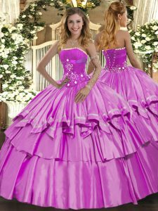 Dramatic Beading and Ruffled Layers Ball Gown Prom Dress Lilac Lace Up Sleeveless Floor Length