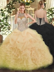 Superior Beading and Ruffles and Pick Ups Quinceanera Gown Champagne Lace Up Sleeveless Floor Length