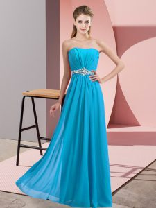 Decent Baby Blue Empire Beading Prom Dresses Lace Up Chiffon Sleeveless Floor Length
