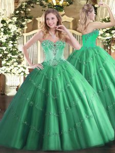 Sophisticated Floor Length Turquoise Quinceanera Dress Tulle Sleeveless Beading and Appliques