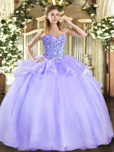 Trendy Lavender Sweetheart Neckline Embroidery Party Dress Sleeveless Lace Up