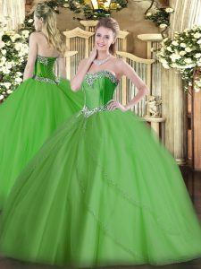 Luxurious Green Sleeveless Tulle Brush Train Lace Up Quinceanera Dress for Military Ball and Sweet 16 and Quinceanera