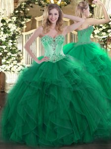 Glorious Floor Length Lace Up Quinceanera Gown Dark Green for Sweet 16 and Quinceanera with Beading and Ruffles
