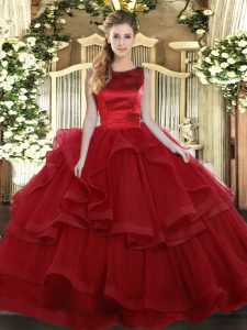 Wine Red Sleeveless Tulle Lace Up Sweet 16 Dress for Military Ball and Sweet 16 and Quinceanera