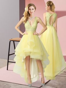 Dramatic Yellow A-line V-neck Sleeveless Tulle High Low Backless Beading and Lace Evening Dress