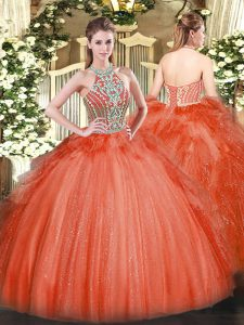 Trendy Red Ball Gowns Beading and Ruffles Ball Gown Prom Dress Lace Up Tulle Sleeveless Floor Length