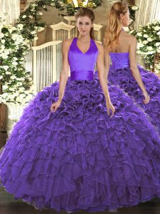 Unique Purple Sleeveless Floor Length Ruffles Lace Up Sweet 16 Dresses