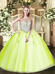 Ball Gowns 15th Birthday Dress Yellow Green Scoop Tulle Sleeveless Floor Length Zipper