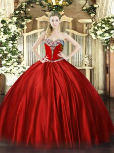 Custom Made Floor Length Wine Red Sweet 16 Quinceanera Dress Sweetheart Sleeveless Lace Up