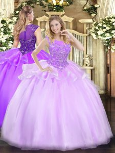 Delicate Sleeveless Floor Length Beading Zipper Sweet 16 Quinceanera Dress with Lilac