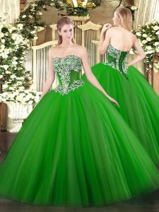 Admirable Floor Length Green Quinceanera Gown Tulle Sleeveless Beading