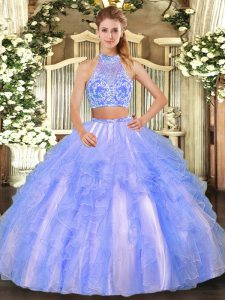 Two Pieces Quinceanera Gown Lavender Strapless Tulle Sleeveless Floor Length Criss Cross