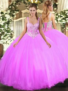 Best Selling Lilac Quinceanera Dress Military Ball and Sweet 16 and Quinceanera with Beading Straps Sleeveless Lace Up