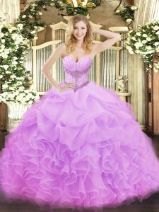 Artistic Sleeveless Beading and Ruffles and Pick Ups Lace Up Vestidos de Quinceanera