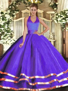 Fashion Floor Length Ball Gowns Sleeveless Purple Sweet 16 Dresses Lace Up