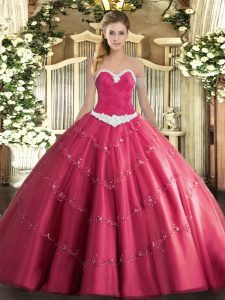 Sweetheart Sleeveless Quince Ball Gowns Floor Length Appliques Hot Pink Tulle